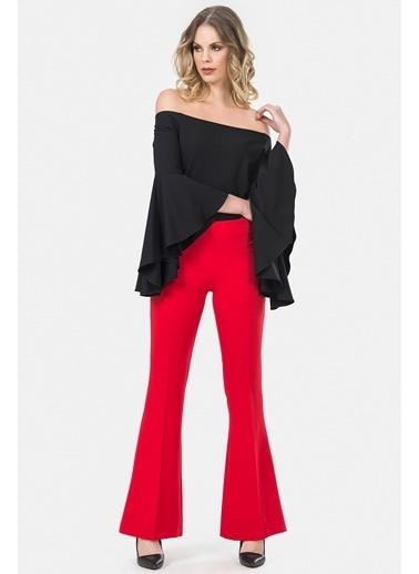 İroni Lycralı İspanyol Paça Pantolon Kırmızı
